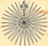 Compass Rose Wood Mounted Rubber Stamp Impression Obsession E1712 NEW