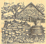 Country Fall Pumpkin Scene Wood Mounted Rubber Stamp Impression Obsession NEW