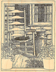 Country Porch Rocking Chair Wood Mounted Rubber Stamp Impression Obsession NEW