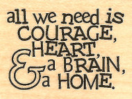 Courage Heart Brain, Wood Mounted Rubber Stamp IMPRESSION OBSESSION- NEW, B14018