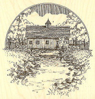 Covered Bridge Scene Wood Mounted Rubber Stamp Impression Obsession NEW