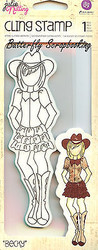 Cowgirl Doll Stamp PRIMA MARKETING INC Cling Unmounted Rubber Stamp 910457 New