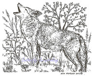 Coyote Howling Wood Mounted Rubber Stamp NORTHWOODS Rubber Stamp - M8544 New