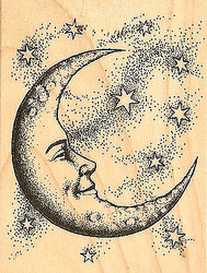 Cresant Moon & Stars Wood Mounted Rubber Stamp by INKADINKADO New