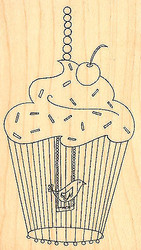 Cupcake Birdcage Wood Mounted Rubber Stamp Impression Obsession Leigh Hannan New