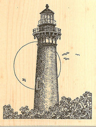Currituck Lighthouse, Wood Mounted Rubber Stamp IMPRESSION OBSESSION- NEW, F1815