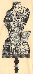 Daisy Dress Stand Form Wood Mounted Rubber Stamp Impression Obsession D13083 NEW