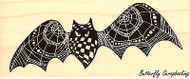 DARKER WINGS Pen Pattern Bat, Wood Mounted Rubber Stamp STAMPENDOUS, NEW - N259