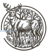 Deer Buck Circle Wood Mounted Rubber Stamp Northwoods Rubber Stamp New