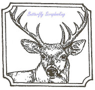 Deer Buck in Notched Square Wood Mounted Rubber Stamp NORTHWOODS - CC8533 New
