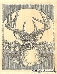 Deer, Wood Mounted Rubber Stamp IMPRESSION OBSESSION - NEW, G1975