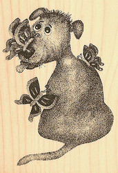 Dog Jasper with Butterflies Wood Mounted Rubber Stamp Impression Obsession NEW