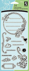 Doodle Tags & Flourishs Clear Unmounted Rubber Stamp Set INKADINKADO 97822 New