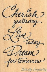 Dream For Tomorrow Text Wood Mounted Rubber Stamp STAMPENDOUS M082 New