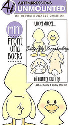 Duck Bunny Front & Back Mini Cling Unmounted Rubber Stamp AI Art Impressions NEW