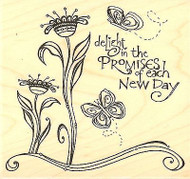 Each New Day Text, Wood Mounted Rubber Stamp IMPRESSION OBSESSION - NEW, F15080