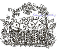 Easter Basket Bunnies Wood Mounted Rubber Stamp Northwoods Stamp - P8998 New