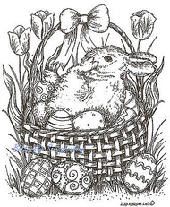 Easter Basket with Bunny Wood Mounted Rubber Stamp Northwoods Rubber Stamp New