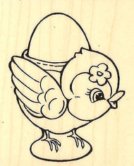 Easter Bird Egg Cup Wood Mounted Rubber Stamp STAMPENDOUS V304 New