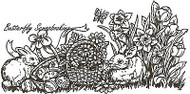 Easter Bunnies & Basket Wood Mounted Rubber Stamp Northwoods Rubber Stamp New
