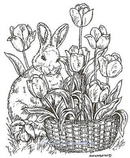 EASTER Bunny Tulip Flower Basket Wood Mounted Rubber Stamp NORTHWOODS M7933 New