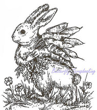 Easter Bunny with Carrots Wood Mounted Rubber Stamp Northwoods Stamp M9419 New