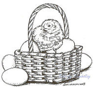 EASTER Chick & Eggs in Basket Wood Mounted Rubber Stamp NORTHWOODS F7939 New