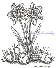 Easter Daffodils with Eggs Wood Mounted Rubber Stamp Northwoods Stamp M9007 New