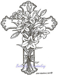 Easter Lily Cross Wood Mounted Rubber Stamp Northwoods Stamp - P9020 New
