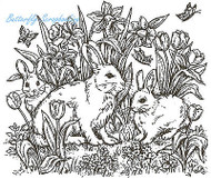Easter Spring Bunnies Wood Mounted Rubber Stamp Northwoods Rubber Stamp New