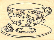 Elegant Teacup, Wood Mounted Rubber Stamp IMPRESSION OBSESSION - NEW, D1260