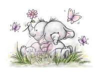 Elephant Bela Butterflies Unmounted Rubber Stamp Wild Rose Studio # CL323 New