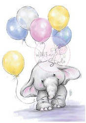 Elephant Bela with Balloons Unmounted Rubber Stamp Wild Rose Studio # CL227 New