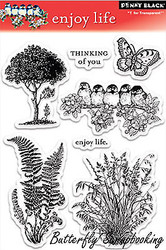Enjoy Life Stamp Set Clear Unmounted Rubber Stamp Set PENNY BLACK 30-032 New