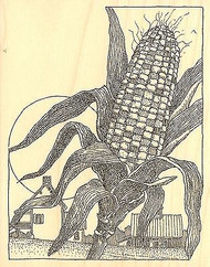 FALL CORN HARVEST FARM Wood Mounted Rubber Stamp Impression Obsession H2500 NEW