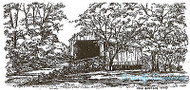 Fall Covered Bridge Scene Wood Mounted Rubber Stamp Northwoods Rubber Stamp New