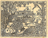 Fall Harvest Wagon Gnome Wood Mounted Rubber Stamp Impression Obsession NEW