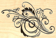 Fall Leaf Tendril Florish Wood Mounted Rubber Stamp Stampendous P127 NEW