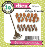 Fall Leaves & Rake American Made Steel Die by Impression Obsession DIE201-K New