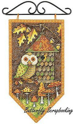 FALL Owl Mini Banner Debbie Mumm Dimensions Cross Stitch Kit 72-74135 NEW