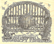 FALL PUMPKIN BENCH Wood Mounted Rubber Stamp Impression Obsession G2501 NEW
