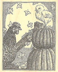 FALL PUMPKIN ROOSTER Wood Mounted Rubber Stamp Impression Obsession H1999 NEW
