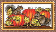 FALL Pumpkins & SQUIRREL Pair Wood Mounted Rubber Stamp NORTHWOODS O9846 New