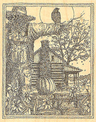 Fall Scarecrow Scene Wood Mounted Rubber Stamp Impression Obsession H1962 NEW