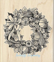 FALL THANKSGIVING WREATH Wood Mounted Rubber Stamp by INKADINKADO 60-01097 NEW