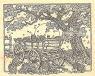 Fall Tree PUMPKIN CART Wood Mounted Rubber Stamp Impression Obsession G2504 NEW