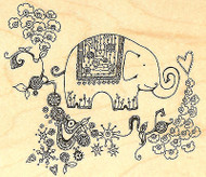 Fancy Elephant Wood Mounted Rubber Stamp Impression Obsession Hannah Davies New