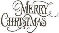 Fancy Merry Christmas Text, Wood Mounted Rubber Stamp NORTHWOODS - E142