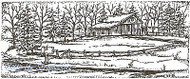 Farmhouse Spruce Pine Tree Scene, Wood Mounted Rubber Stamp NORTHWOODS - O3870