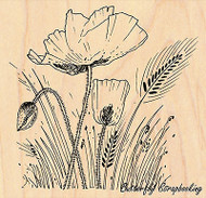 Field Of Poppies, Wood Mounted Rubber Stamp PENNY BLACK - NEW, 4308K